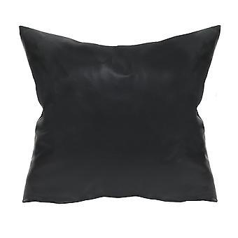 Black Faux Leather Pillow
