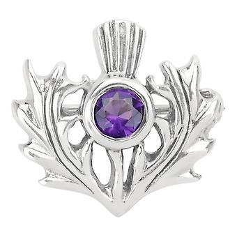 Škótsky bodliak kvet Škótska PIN sponou odevné oblečenie Fibulae brošňa-Amethyst farebný kameň