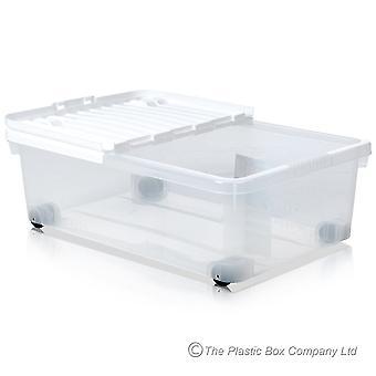 Pack de stockage Wham de 5 - 32 litres sous les boîtes de stockage en plastique de lit avec roues et couvercles blancs