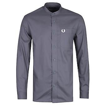 Fred Perry Grandad Collar Charcoal Grey Long Sleeve Shirt
