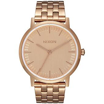 Nixon the porter watch for Analog Quartz Men with stainless steel bracelet plated in a1198897 gold