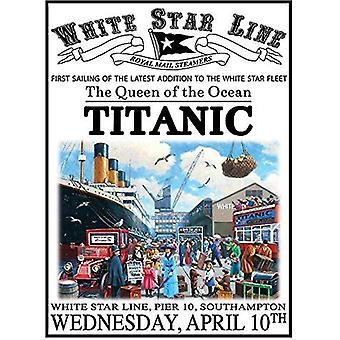 Titanic, White Star Line, mały metalowy znak (og) 200 x 150 mm