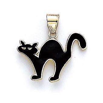 14k Yellow Gold Black Enamel Cat Pendant - 1.9 Grams