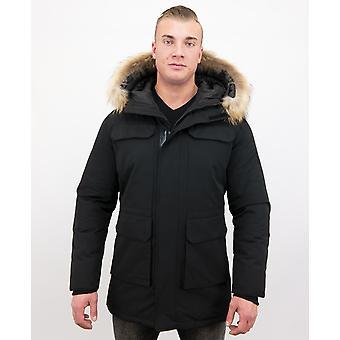 Parka Winter coat With Big Real Fur Collar - Black