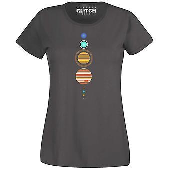 Frauen's einfache Solarsystem T-shirt