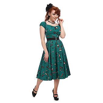 Collectif Vintage Women's Teal Dolores Vegas Vamp Doll Swing Dress