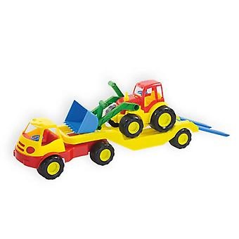Mochtoys Toy Truck 10001 with low loader, wheel loader and loading ramp 61 x 16 cm