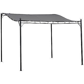 Outsunny 3 x 3 Meters Canopy Metal Wall Gazebo Awning Garden Marquee Shelter Door Porch - Grey