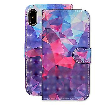 3D Color Grid Pattern Folio Leather Case For iPhone XR,Holder,Card Slots,Wallet