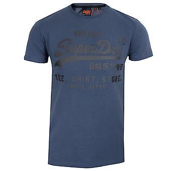 Superdry men's lauren navy vl camicia negozio legato t-shirt