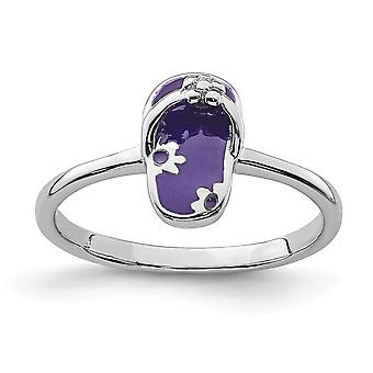 925 Sterling Silver Rhodium plated for boys or girls Enameled Purple Flip Flop Ring - Ring Size: 3 to 4
