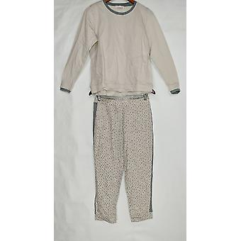 Stan Herman Women's Petite Pajama Set Franse Terry Tunic Set Beige A301849