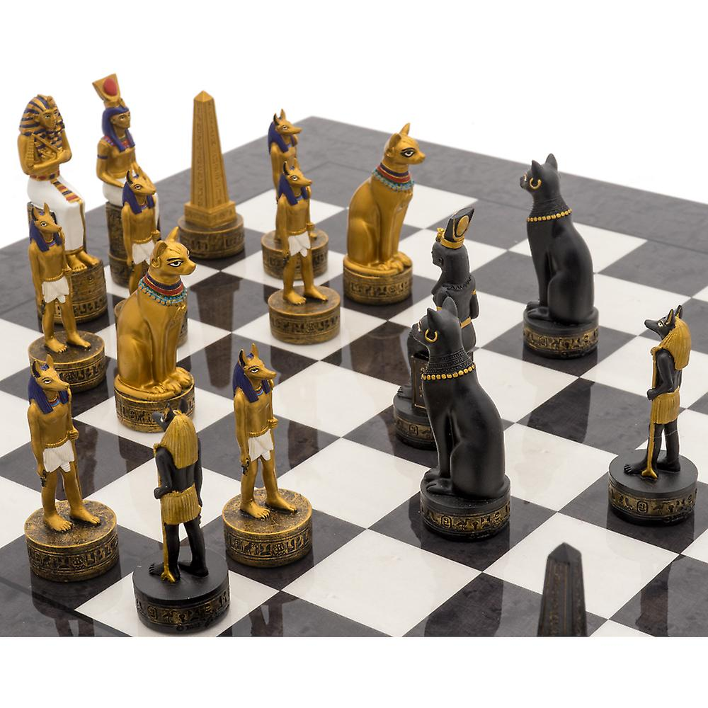 The Ancient Egypt Hand Painted Themed Luxury Charcoal Chess Set By Italfama