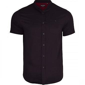Dappere ziel Mens opa katoenen Shirt Collarless korte mouw Smart Casual Shirts