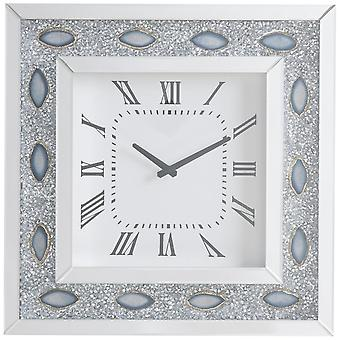 Mirrored Faux Crystal and Agate Wall Clock