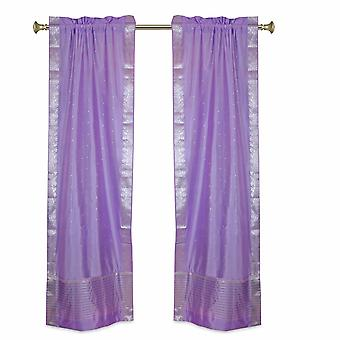Lavendel-Rod-Tasche schiere Sari Vorhänge w / Silber Border-Pair