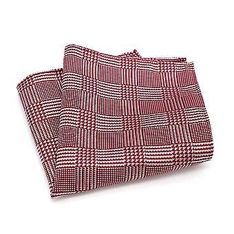 Men's red & white tartan stripe grooms pocket square