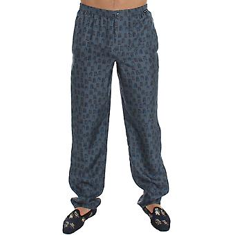 Dolce & Gabbana Blue Silk Pajama Lounge Pants Trousers Sleepwear