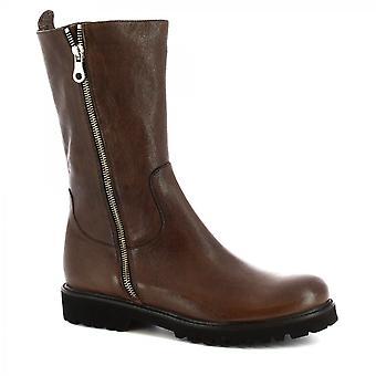 Leonardo Shoes Women's handcalf botas dark brown bezerro couro side zip
