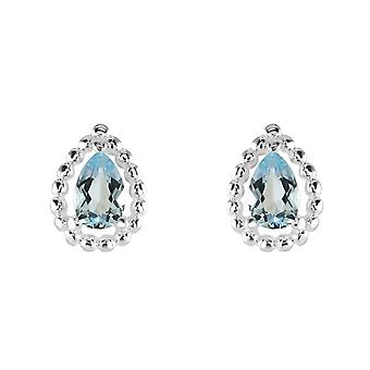 Dew Sterling Silver Teardrop Blue Topaz Bobble Surround Stud Earrings 3707BT