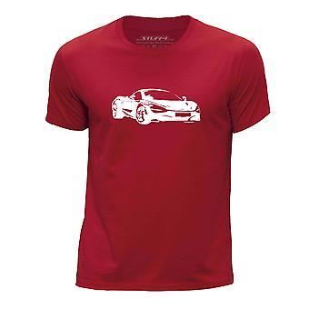 STUFF4 Boy's Round Neck T-Shirt/Stencil Car Art / 720S/Red