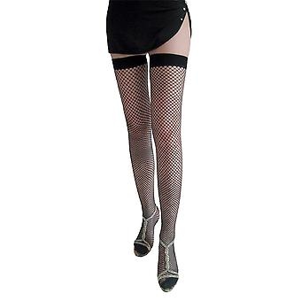 Womens Stretchy Durable Fishnet Plain Top Classic Net Thigh High Stockings