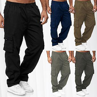 Thermo Cargo Pants Lined Outdoor Work Trousers Winter Fleece Stretch Waistband