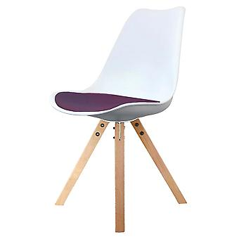 Fusion Living Eiffel Inspired White And Aubergine Purple Plastic Dining Chair With Square Pyramid Light Wood Legs