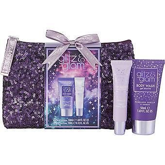 Style & Grace Glitz & Glam Galaxy Sequin Bag Set - 50ml Body Wash, 10ml Lip Gloss and Bag