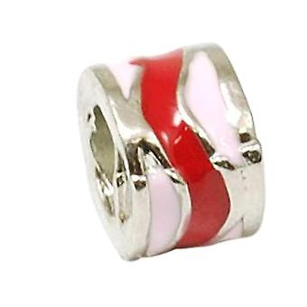TOC BEADZ Red & Pink Swirl 7mm Slide-On Off Charm Bead