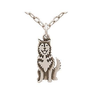 Chain Siberian Husky, Alaskan Malamute dog pendant 925 silver, gold plated, rose