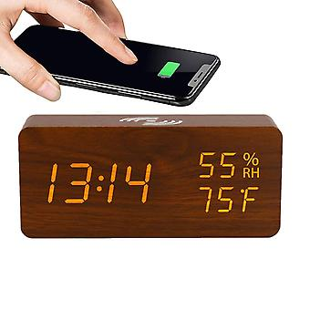 Digital LED alarm clock with wireless charger - brown
