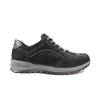 Waldläufer Helle 388951 704 001 zwart nubuck leer mens Lace up casual schoenen
