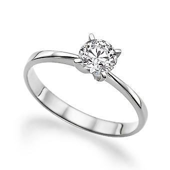 0.75 CT 6.00MM Moissanite Engagement Ring Forever One Colorless VVS  14K White Gold