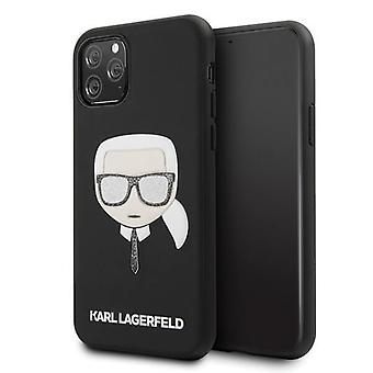 KARL LAGERFELD Iconic Boss Glitter Backcover Cover iPhone 11 Pro - Schwarz