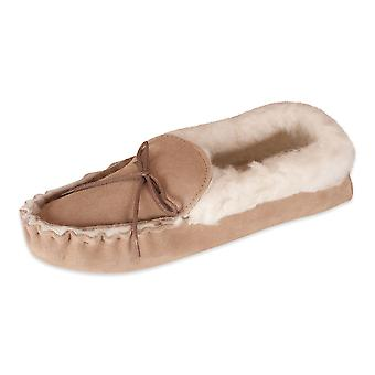 Nordvek Sheepskin Womens Slippers - Wool Lined Sheepskin Moccasins - Soft Suede Sole # 418-100