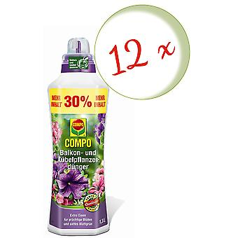 Sparset: 12 x COMPO Balcony and potted plant fertilizer, 1.3 litres