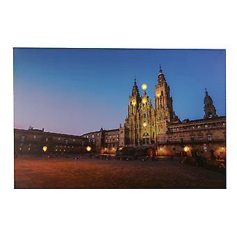 Quadro de LED Jandei com 8 LED da Catedral de Saniago de Compostela 60 x 40 2 baterias AA