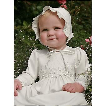 Christening Gown And Bonnet With Three-dimensional White Flower Decoration - Grace Of Sweden