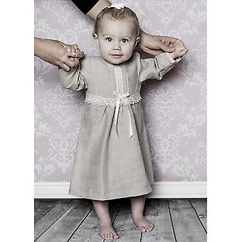 Special Occasions In Natural Linen With Long Sleeves For Baby Girl 56-86