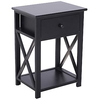HOMCOM Traditional Accent End Table With 1 Drawer,X Bar Bottom Storage Shelf, for Living Room Bedroom Room 40L x 30W x 55H cm - Black