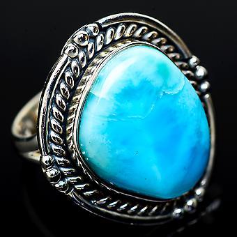 Große Larimar Ring Größe 7,25 (925 Sterling Silber) - handgemachte Boho Vintage Schmuck RING14821