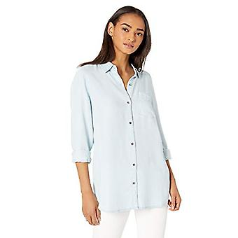 Marke - Tägliche Ritual Frauen's Tencel Langarm Button-Up Tunika, Bleac...
