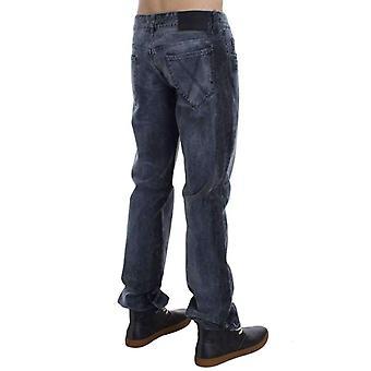 Grijs wassen katoen regular fit jeans--SIG3022597