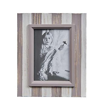 G&B14662B, Danya B. Grey and White Distressed Wood Plank 5 x 7 Picture Frame