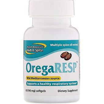 Nordamerikanska Ört & Spice, OregaResp, 140 mg, 60 Softgels