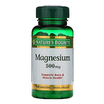 Nature's Bounty, Magnesium, 500 mg, 100 Coated Tablets