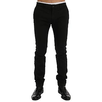 GF Ferre Black Cotton Stretch Chinos Pants SIG60461-1