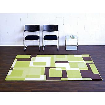 Diseñador Velours Rug Retro Verde/Brown/Crema 102015