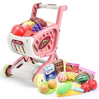 Simulation Trolley Push Car Cutting Food Fruit Supermarket Shopping Cart Toy
